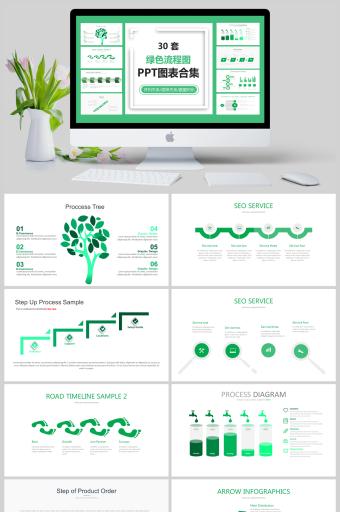 30套绿色流程图图表合集PPT亚博体育主页