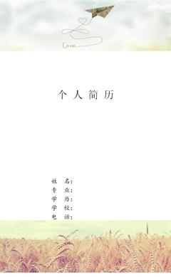 纸飞机个人简历封面模版PPT