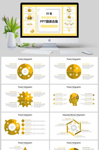 30套黄色循环关系图表合集PPT亚博体育主页