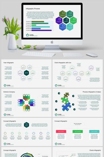 蜂窝组织架构信息可视化PPT图表