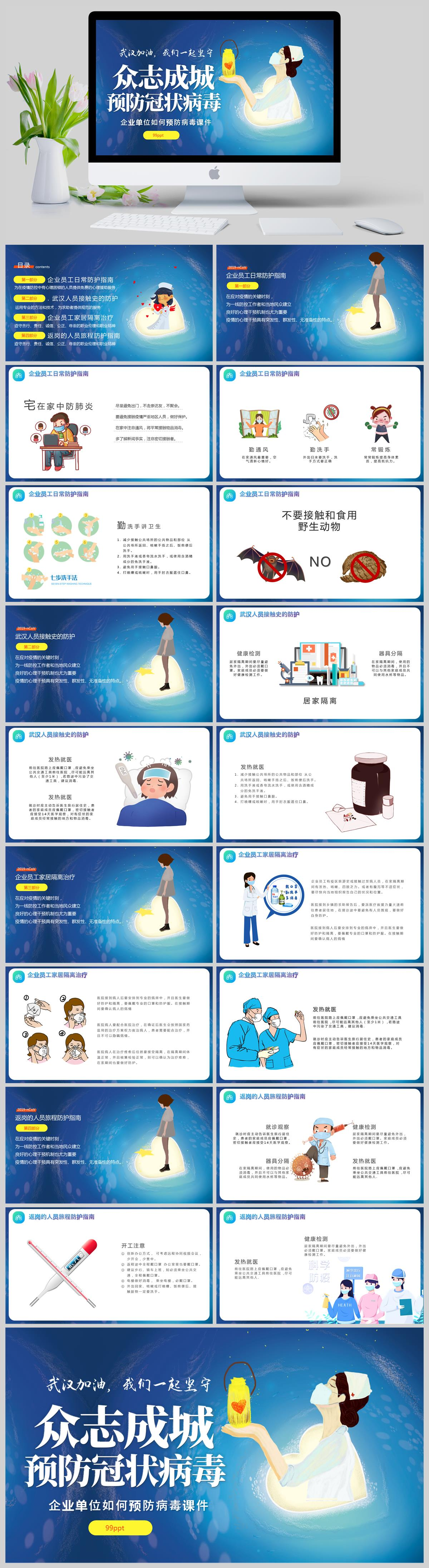 蓝色医疗风企业预防疫情宣传课件PPT亚博体育主页